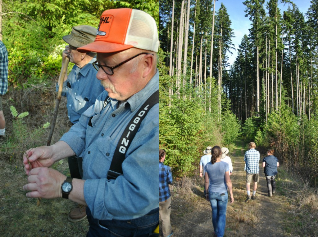 A workshop participant checking out foliar disease (left); The group heading down the trail (right)