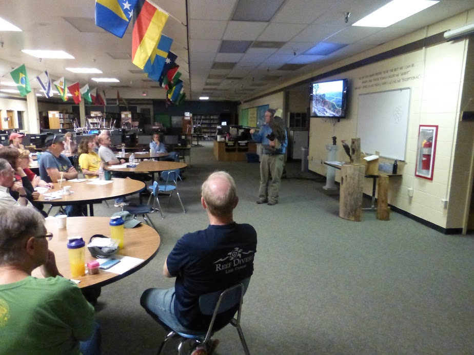 Ken Bevis giving the group his talk on wildlife enhancement