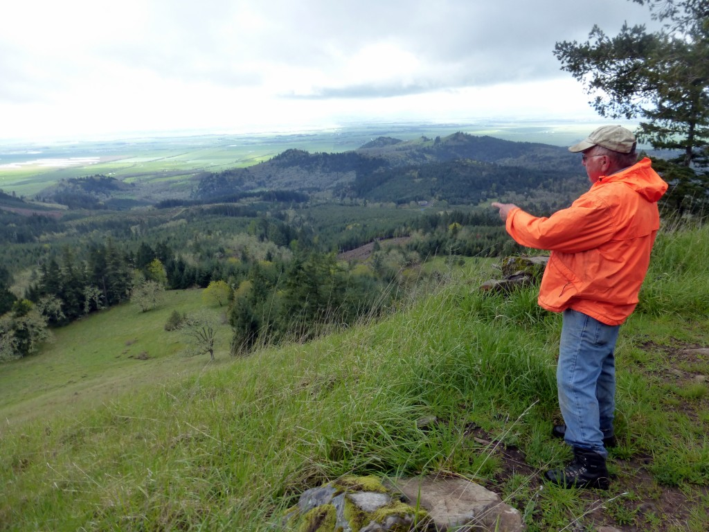 Jim looks over Oak Basin Tree Farm, its restored meadows, and the Coburg Hills that flank the Willamette Valley.